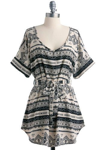 Medium Format Memory Tunic - Black, Print, Casual, A-line, Short Sleeves, Summer, Long, Belted, Best Seller, Multi, White, Variation, Travel, Top Rated