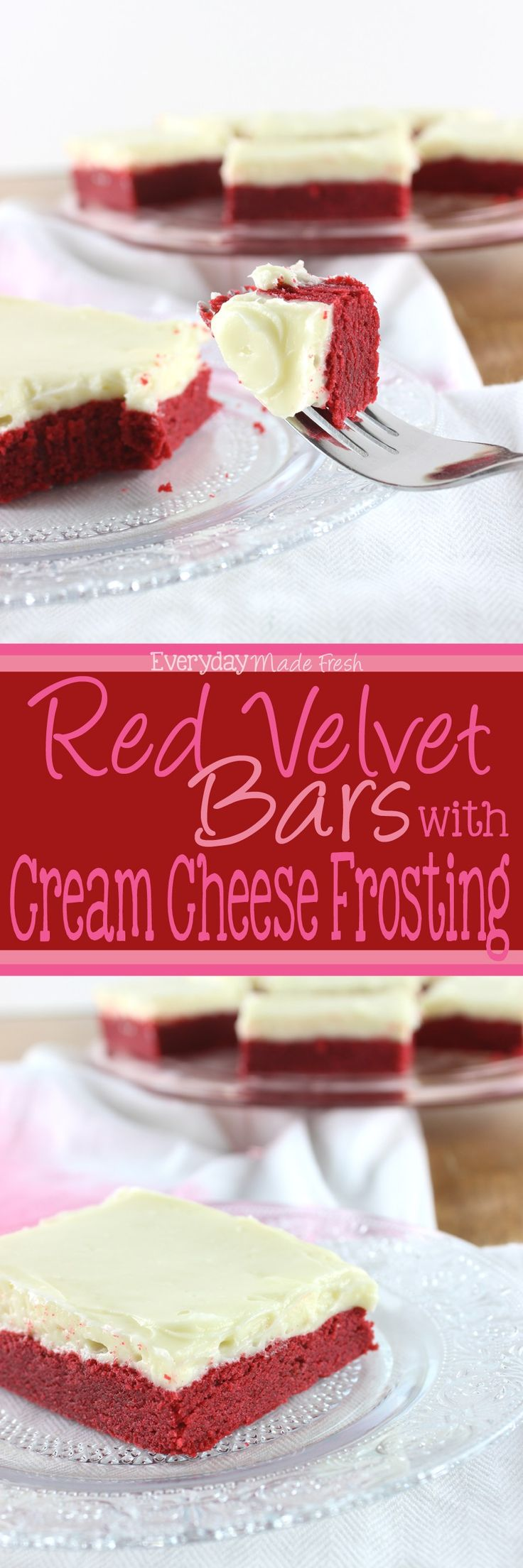 These Red Velvet Bars with Cream Cheese Frosting h…Edit description