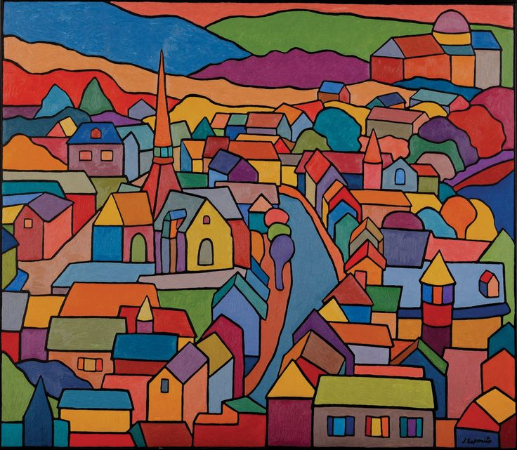 """""""Village in France"""", painting by Joe Esposito. Visit Art Galaxie and see more of his work at"""