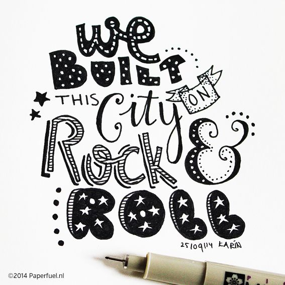 Do you remember? We build this city by Starship!! #lettering #handlettering…