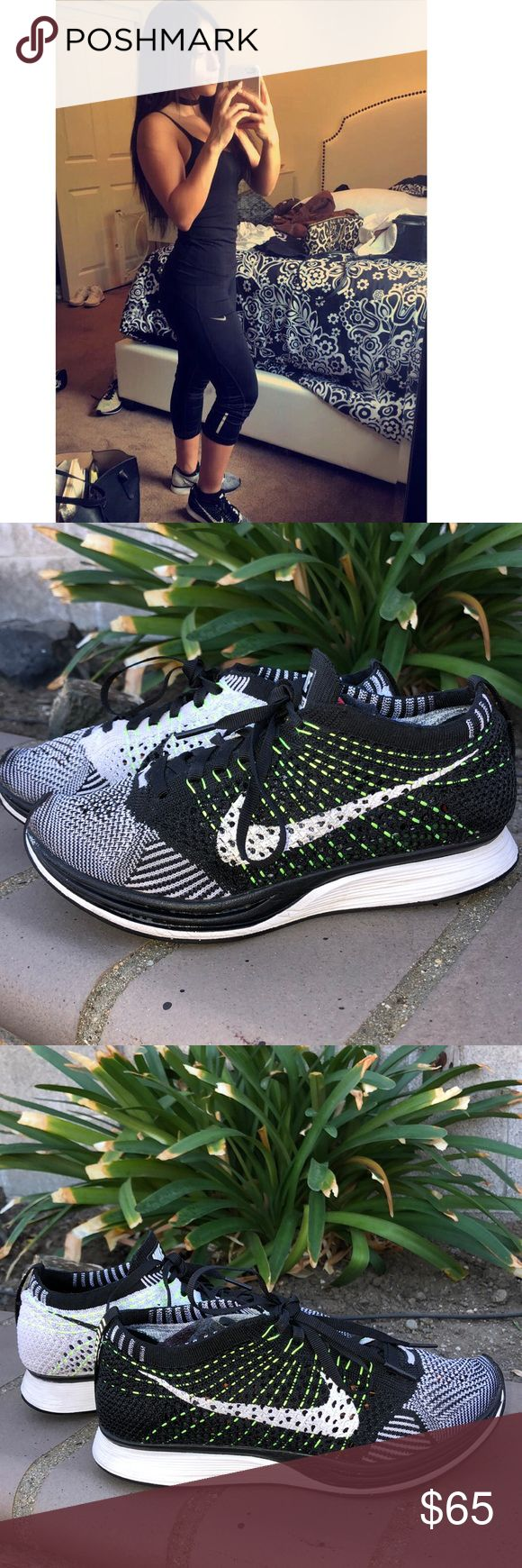 NIKE FLYKNIT RACER 👟✨🖤👟✨ Original Nike flyknit racers. Black and white with a hint of neon. Sporty chic✨👟 FLYKNIT are sold in only men therefore size is 4.5 in men = 5/ 5.5 in women  Please comment if you would like more pictures or information 🖤✨  Open to all offers!! Nike Shoes Athletic Shoes