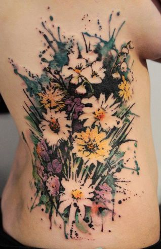 Cool! Bouquet side tattoo
