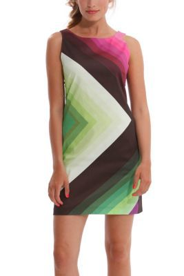 Desigual women's Ston short dress with a truly psychedelic print. Zip fastening at the back.