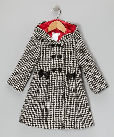 Take a look at this Black & White Houndstooth Hooded Swing Coat - Infant, Toddler & Girls by Joe-Ella on #zulily today!