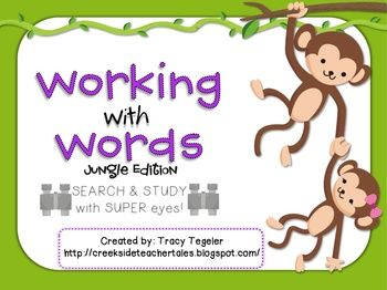 Great Activities for Centers :)Colored Word Hunt of Classroom  Pgs. 3-7Syllables, Consonants, Silent E, Double Vowel, Long Vowels, Short VowelsColored Making Words PgS. 8-12Jungle Themed Making Words from: explorer, safari, zebra, elephant, alligator, tour guideColored Boggle pGS. 13-175 different versions includedColored Search & Circle/Find that Sound PGS. 18-22Long & Short Vowels, Blends, Consonants, Pre/SuffixesBlack & White Word Hunt of Classroom PGS. 23-27Black & White M...