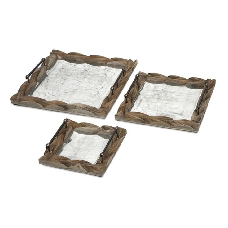 Set of 3 Vintage-Style Wooden Carved Rustic Serving Trays - 19.5, Brown