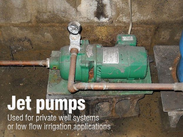 Jet pumps used for private well systems or low flow irrigation applications