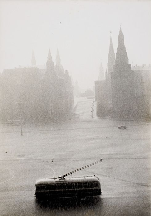 Tram passing the Kremlin on a rainy day, Moscow, 1956
