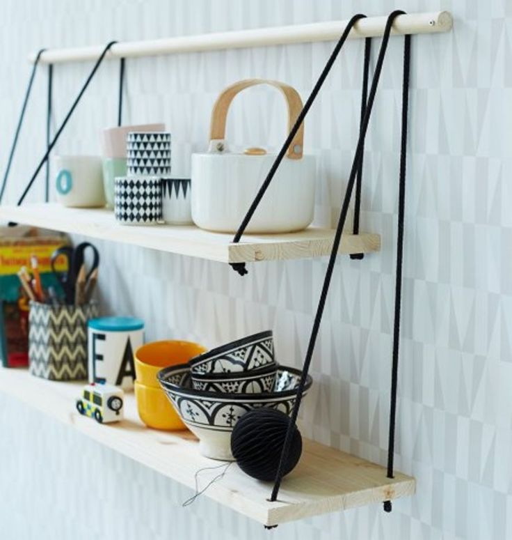 Save this home inspo for 21 DIY hanging shelf + table ideas that'll maximize your floor space.