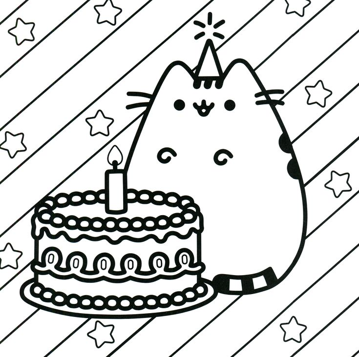 birthday cat coloring pages - photo#4