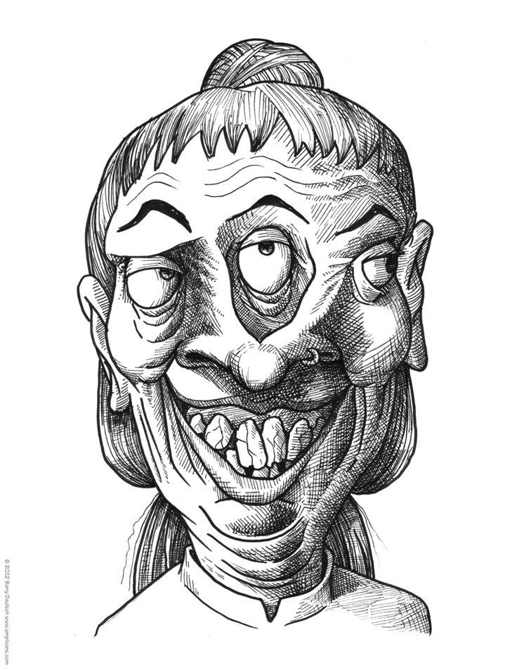Grotesque: Synonym: This picture shows a woman with a distorted or grotesque face.