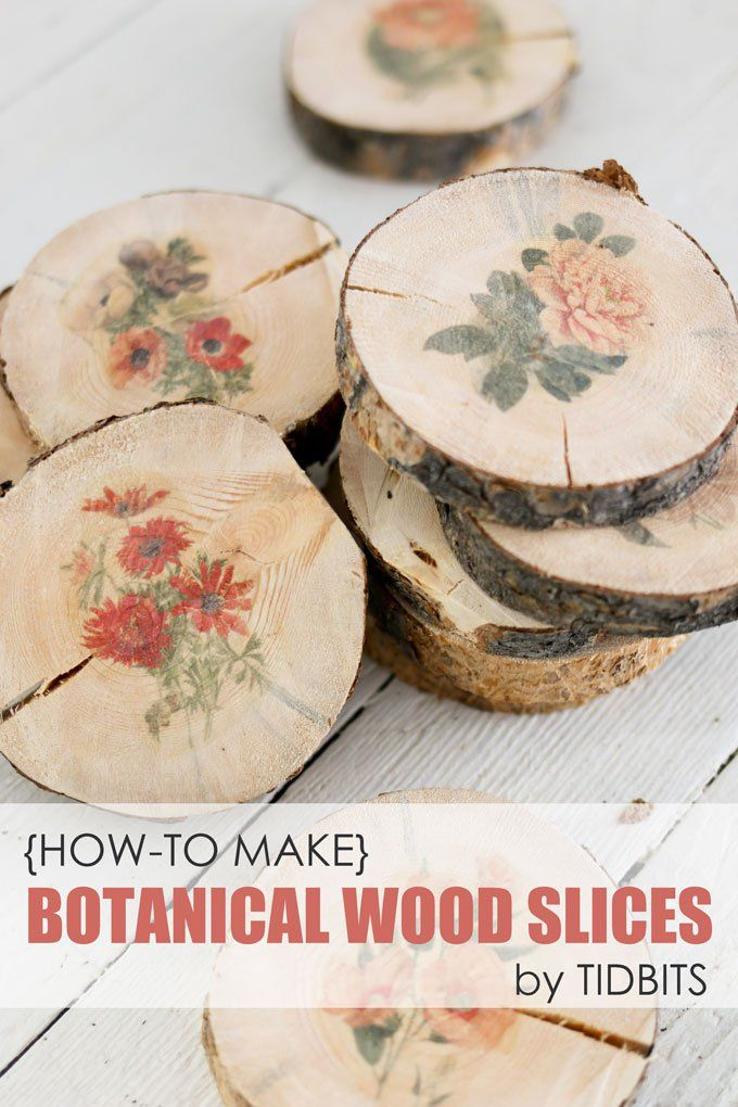 How to make botanical wood slices and 6 creative ways to use them.  Learn how to transfer any image you can print onto wood surfaces.