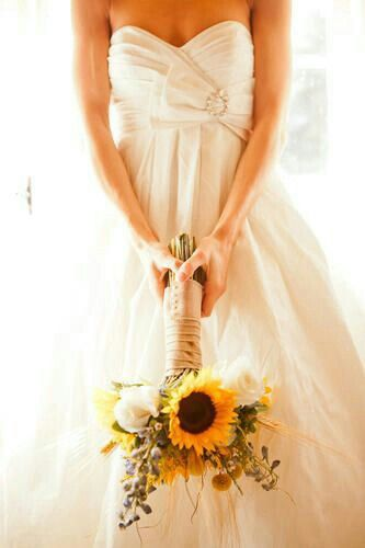 Sunflower Bridal Bouquet With White Roses, Golden Wheat, Lavender....