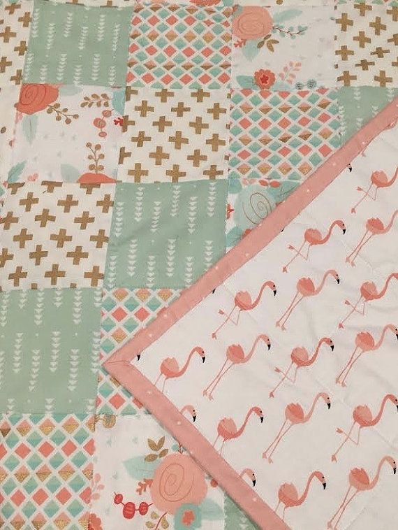 Baby quilt ~ girl quilt ~ blanket ~ crib quilt ~ nursery quilt ~ flamingo ~ floral ~ pink ~ gold ~ mint ~ geometric, Birch Tree Bundles