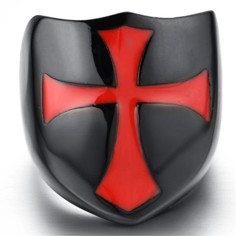 Black Stainless Steel Knights Templar Crusader Shield & Cross - Free Masonic Ring RING - Masonic Jewelry Free Masonic Ring - FreeMasonicRing.com