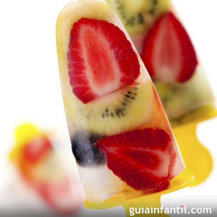 Polos muy hidratantes de fruta para los niños.