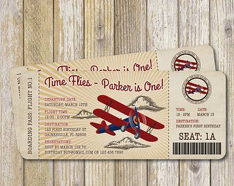 Vintage Airplane Birthday Invitation Vintage by YellowLilyDesigns