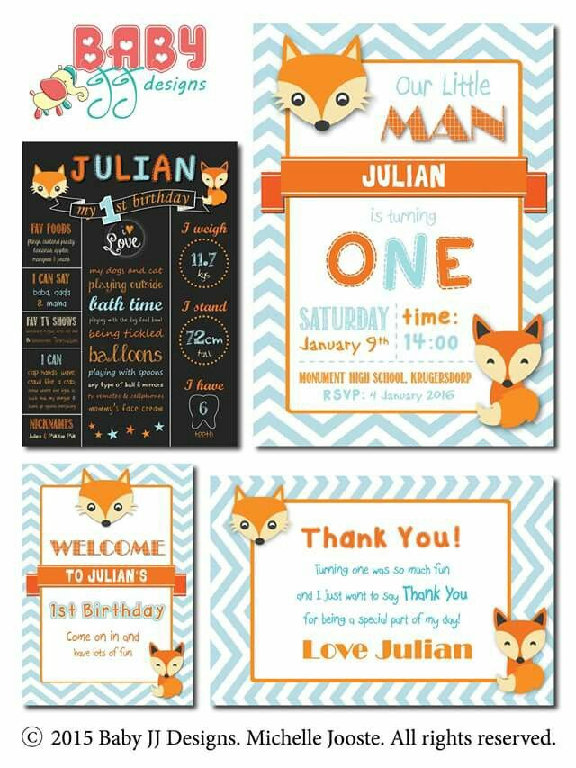 Little Fox Birthday Design Package by Baby JJ Designs https://facebook.com/babyjjdesigns
