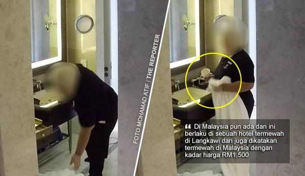 """'Ingat di China je ada? Di Malaysia pun ada housekeeping buat perangai camni'   Ingat berlaku di China sahaja? Jangan sangka di luar negara saja begitu di dalam negara kita sendiri ada juga yang melakukannya. Menurut lelaki ini kejadian yang sama berlaku di sebuah hotel mewah di Langkawi Kedah.  """"Biar betul?""""  Percaya atau tidak terpulang pada penilaian masing-masing berdasarkan beberapa gambar yang turut dimuat naik di Facebook pengadu yang menunjukkan kakitangan berkenaan sedang…"""