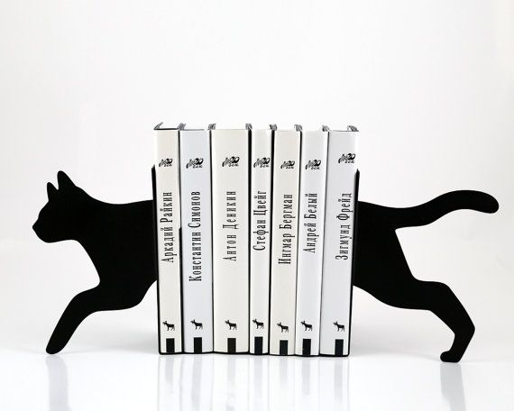 Bookends - Running Cat - laser cut for precision these metal bookends will hold…