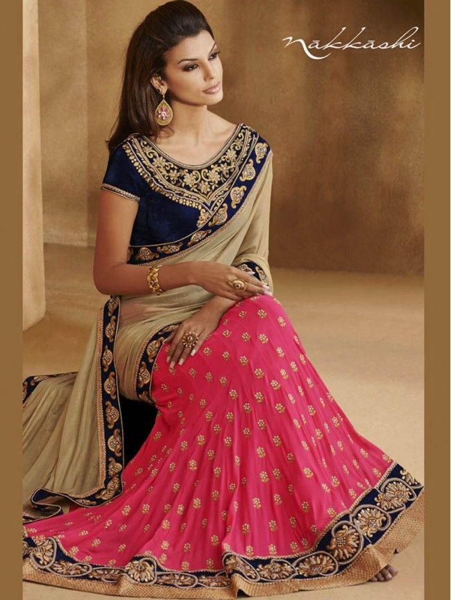 Smoke with Pink Lehenga Saree Nakkashi Designer Saree #LehengaSaree #Lehenga #Saree #Sari #IndianEthnic #PartywearSaree #WeddingWearSaree