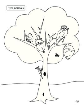 Include this coloring page in your unit about trees! One of a tree's important functions is to serve as a habitat for animals (featured are the squirrel, racoon, owl, bee, ant, and woodpecker). From Our Time to Learn, ages 4-6.
