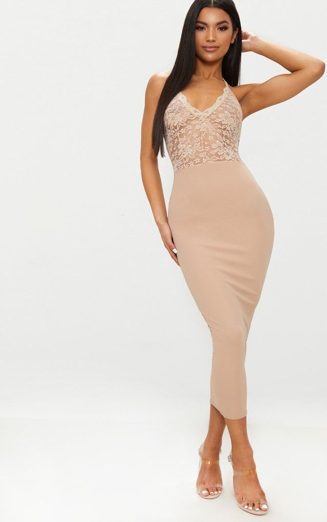 Stone Sheer Lace Top Midaxi Dress