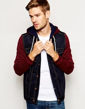 River Island Denim Jacket with Jersey Sleeves and Hood