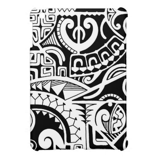 maori designs and patterns | Polynesian lizard and mask tattoo design case for the iPad mini from ...