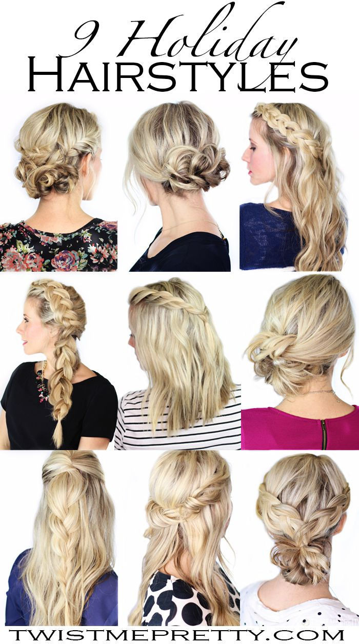 Ideas for beautiful Christmas Hairstyles  > Need some fresh inspiration for all those Christmas parties coming up? This is the perfect roundup of simple and elegant hairstyles that everyone can do. Merry Christmas! | Twist Me Pretty