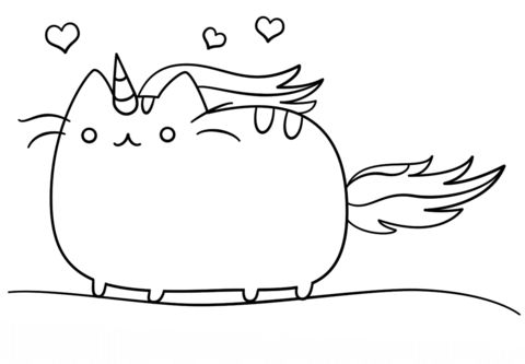 Kawaii Cat-Unicorn coloring page | Free Printable Coloring Pages