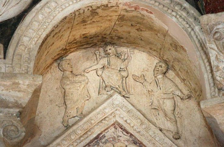 Battistero degli Ortodossi, Ravenna. Stucco. Cristo con gli apostoli Pietro e Paolo. Traditio legis et clavium. 450-475