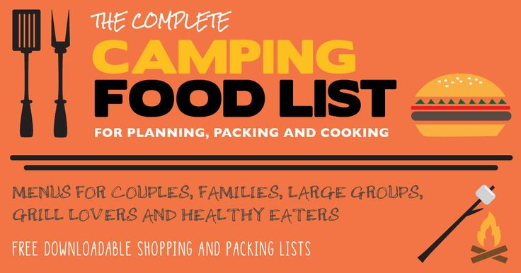 Printable Camping Food Lists For Couples Families Large Groups And More Plus Lots Of Tips On Essentials How To Pack Your Next Trip