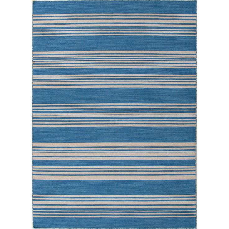 Jaipur Rugs RUG103682 Flat-Weave Stripe Pattern Wool Blue/Ivory Area Rug ( 8x10 )
