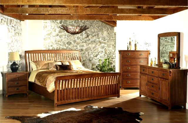Mission Craftsman sleigh bed set