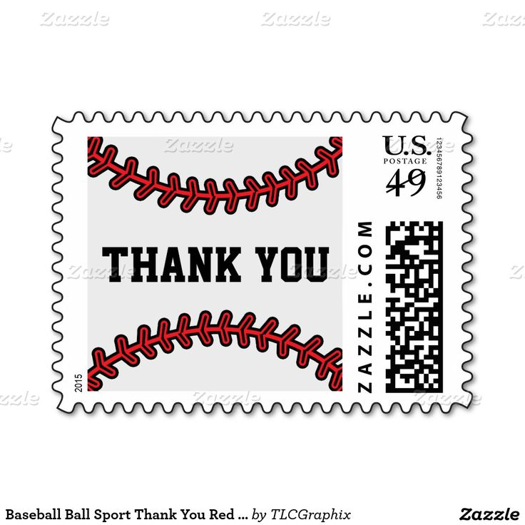Baseball Ball Sport Thank You Red Black White Postage This custom designed unique baseball product has a red printed baseball stitching and black text Great for a graduate player, fan or coach that loves sports and base ball. Use for any occasion - wedding, anniversary, birthday, graduation, retirement or baby shower. #graduation #thankyou #baseball