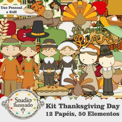 Kit Thanksgiving Day, Happy Thanksgiving, Feliz Dia de Ação de Graças, Peru, Turkey, Día de Acción de Gracias, Perú, Colheita, Cosecha, Harvest, Kit Digital, Papéis, Elementos, Uso Pessoal, Kit digital, Uso Personal, Digital Kit, Papers, Elements, Personal Use