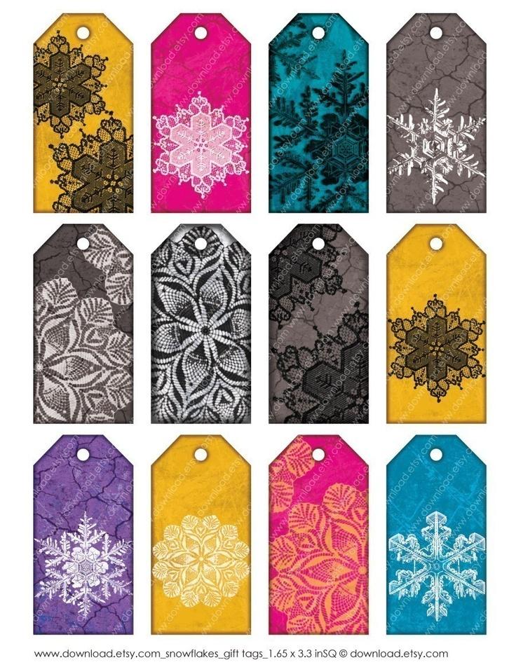 Snowflakes, Printable Gift Tags #pinparty