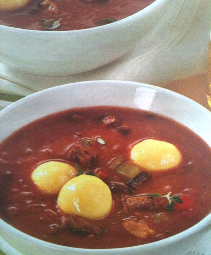 Original German recipe - The German Goulash Stew with Dumplings is an easy German recipe that you will love. The dumplings are not as big as regular dumplings, make them smaller.