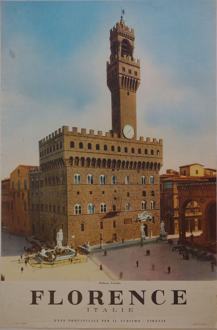 - Palazzo Vecchio Original Italian travel poster. Circa 1950. Printed in Italy.