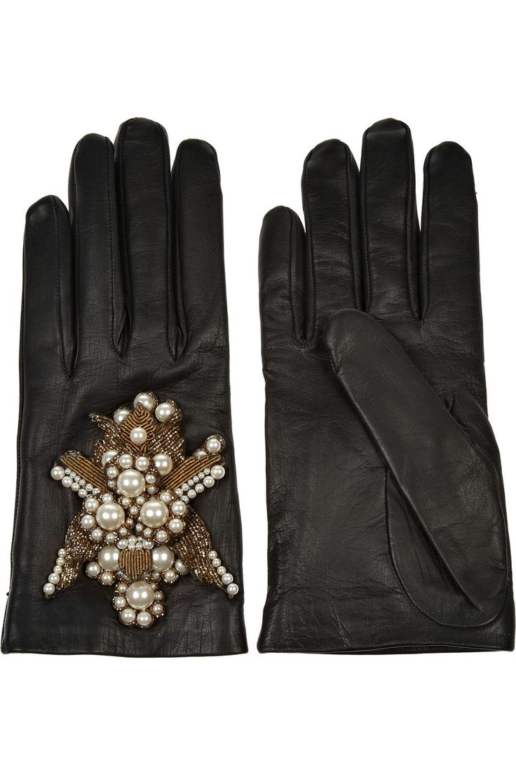 John lewis ladies black leather gloves - Alexander Mcqueen Embellished Leather Gloves