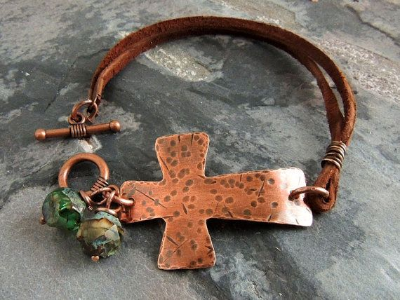 Cross Bracelet, Christian Jewelry, Hammered Copper Sideways Cross, Leather Bracelet, Boho, Christian Bracelet, Inspirational, Rustic Cross