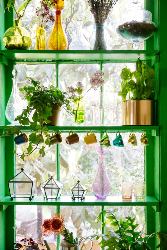 DIY Garden Window with Green Trim