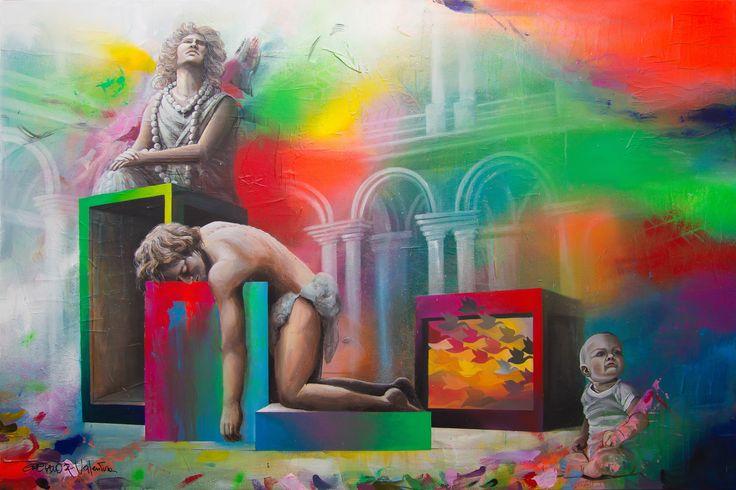 GaeTano & Valentina, DEXTER ©2017, acrylic on paper and canvas 150 x 100 x 3,8 cm / 59,1 x 39,4 x 1,50 in Serie: 30/Trentesimi