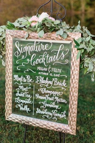 Modern calligraphy wedding signature cocktail sign idea - repurposed mirror with hand-lettered modern calligraphy {Alicia Wiley Photography}