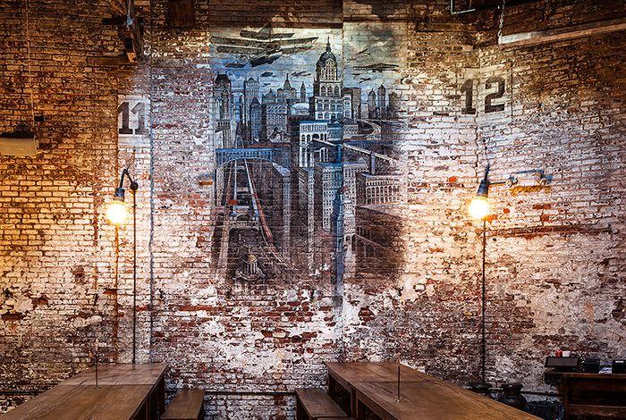 интерьер пивного ресторана Houston Hall в Вест-Виллидж Нью-Йорк