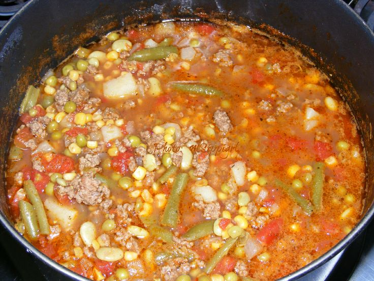 Hamburger Vegetable Beef Soup (aka school cafeteria soup)  Take a step back in time with this one!  Great childhood memories.  Chocked full of veggies and ground beef, it's a meal-in-itself. Serve with cornbread.