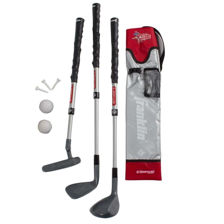Developing the next Rory McIlroy is easy with this ADJUST-A-SPORT Youth Golf Set. The putter, driver, and iron all feature ergonomic handles for proper hand position and adjustable heights to accommodate kids from 5-10.Each club is constructed with