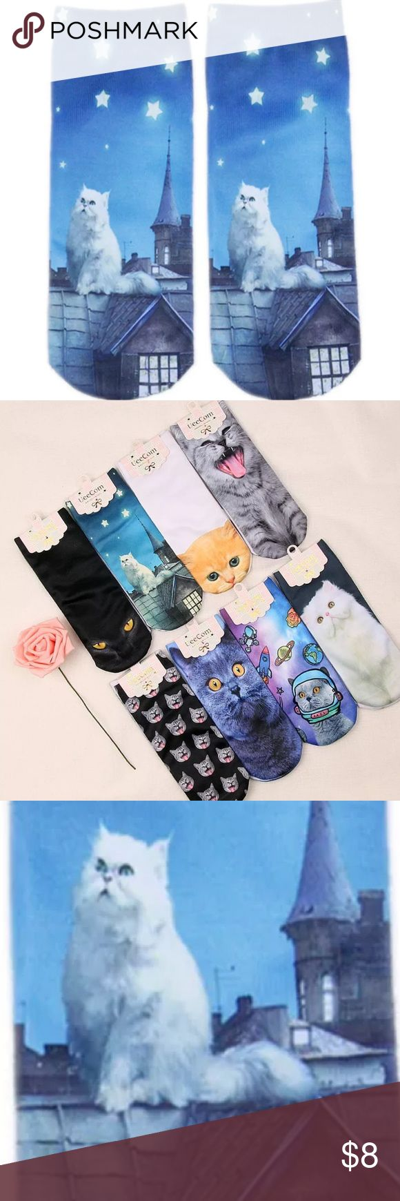 """Super cute kitty socks Super cute KITTY print socks  Brand new great quality will make such  A great gift 🎁 or happy feet ❤️  Material spandex NWT Size:(L*W) 7 x2"""" available in other designs price per sock   🛍BUNDLE & SAVE 15%🛍 ✨TOP RATED SELLER✨ 📦SAME DAY OR NEXT DAY SHIPPING!📦 ❤REASONABLE OFFERS WELCOME❤ ❌NO TRADES OR PAYPAL❌ Accessories Hosiery & Socks"""