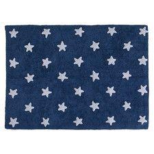 Kinderteppich Sterne in Marineblau / Weiß